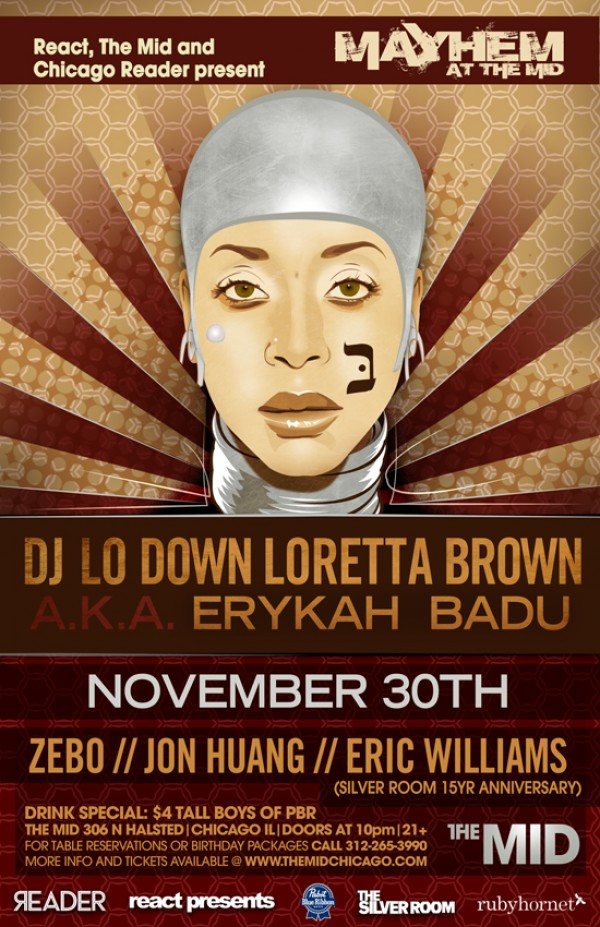 Eryka mayhem 2 e1353014525206 [RH Events] Erykah Badu As DJ Lo Down Loretta Brown
