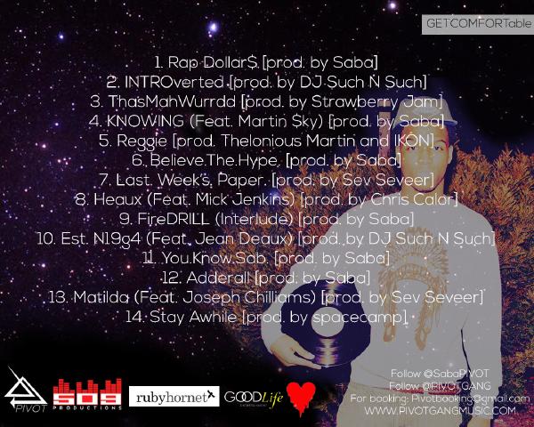 GETCOMFORTable BACK [RH Album Premiere] Saba: GetCOMFORTable